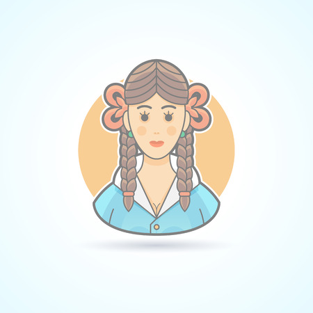knot work: Schoolgirl, pupil, girl, teenager icon. Avatar and person illustration. Flat colored outlined style.