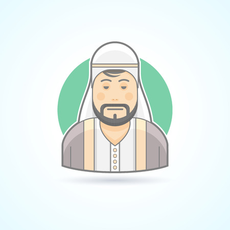 man head: Sheikh, arabian man icon. Avatar and person illustration. Flat colored outlined style.