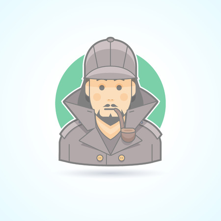snoop: Detective, snoop icon. Avatar and person illustration. Flat colored outlined style.
