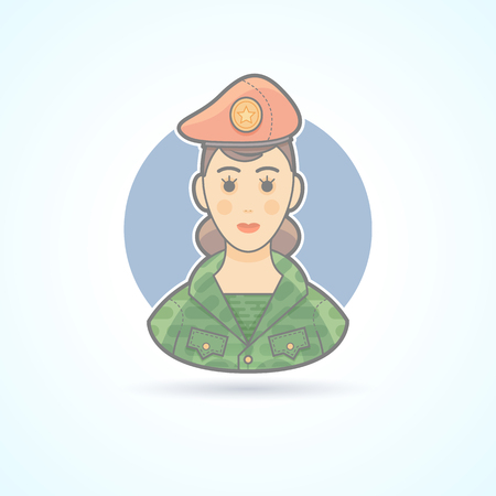 servicewoman: Army soldier woman, servicewoman icon. Avatar and person illustration. Flat colored outlined style.