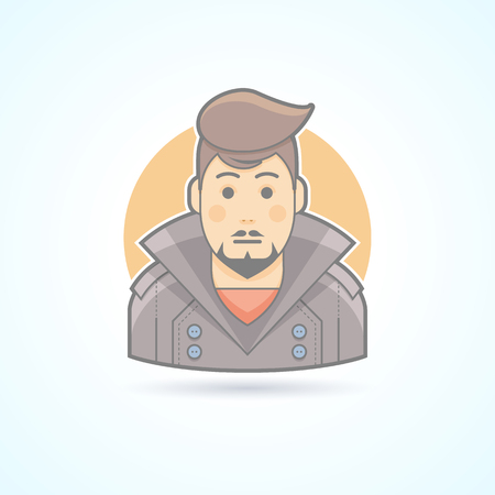 stylish man: Stylish man with haircut icon. Avatar and person illustration. Flat colored outlined style.