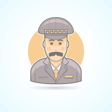 El conductor del taxi, icono taxista. Avatar y persona de ilustración. Piso estilo esbozado colores.
