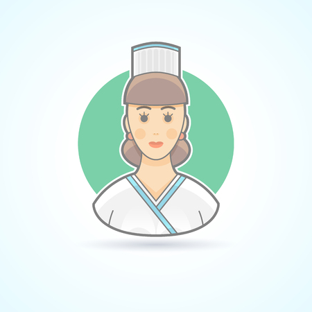 kitchen cooking: Cook woman, kitchen girl icon. Avatar and person illustration. Flat colored outlined style.