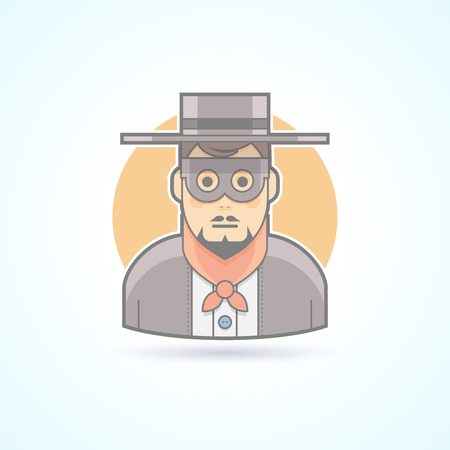 incognito: Maskman, incognito, anonymous, mysterious character icon. Avatar and person illustration. Flat colored outlined style.