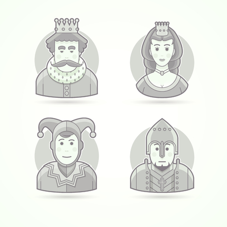 royal person: King in crown, royal person, queen, princess, court jecter, knight warrior. Set of character, avatar and person vector illustrations. Flat black and white outlined style. Illustration