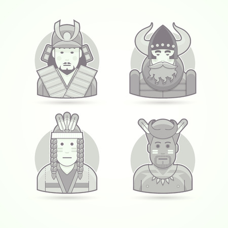 red indian: Japanese samurai warrior, viking, red indian man, native african aborigen. Set of character, avatar and person vector illustrations. Flat black and white outlined style.