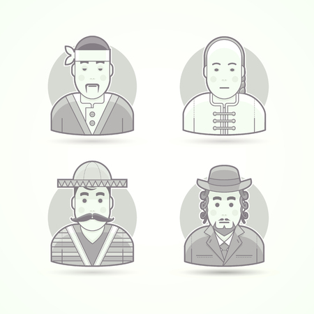 asian cook: Set of character, avatar and person vector illustrations. Flat black and white outlined style. Illustration