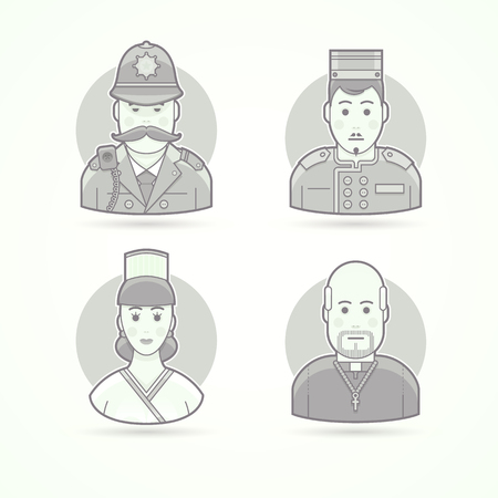 policeman: British policeman, hotel porter, cook woman, priest. Set of character, avatar and person vector illustrations. Flat black and white outlined style. Illustration