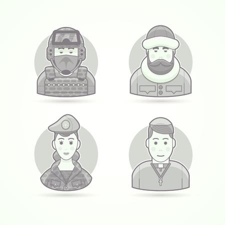descubridor: fuerzas especiales hombre, explorador polar, mujer soldado, sacerdote chursch. Conjunto de caracteres, avatar y las ilustraciones de vectores persona. estilo esbozado en blanco y negro mate. Vectores