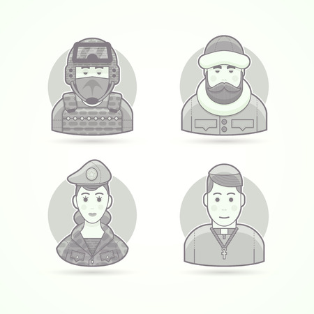 special forces: Special forces man, polar explorer, woman soldier, chursch priest. Set of character, avatar and person vector illustrations. Flat black and white outlined style.
