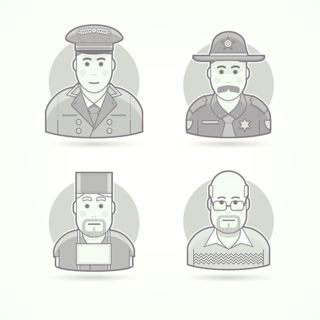 surgeons hat: Hotel doorman, texas policeman, medical surgeon, school teacher. Set of character, avatar and person vector illustrations. Flat black and white outlined style. Illustration