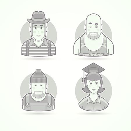 pantomima: ejecutante pantomima, boxeador, trabajador, graduado de la mujer. Conjunto de caracteres, avatar y las ilustraciones de vectores persona. estilo esbozado en blanco y negro mate.