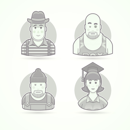 pantomime: Pantomime performer, boxer, worker, graduate woman. Set of character, avatar and person vector illustrations. Flat black and white outlined style.