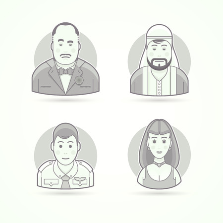 Set of character, avatar and person vector illustrations. Flat black and white outlined style. Illustration