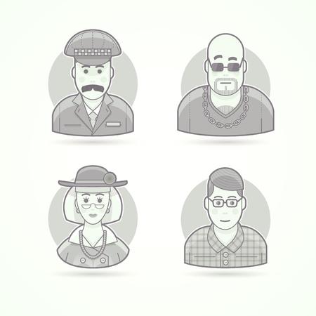 hombre con sombrero: El conductor del taxi, club nocturno, elegante oldlady, empoll�n, joven inteligente. Conjunto de caracteres, avatar y las ilustraciones de vectores persona. estilo esbozado en blanco y negro mate.