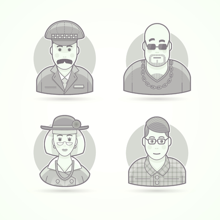 body guard: Taxi driver,  nightclub bouncer, elegant oldlady, nerd, clever young man. Set of character, avatar and person vector illustrations. Flat black and white outlined style. Illustration