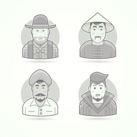 Amerikaanse cowboy, Aziatisch villageman, Indiase man, stijlvolle man. Set van karakter, avatar en persoon vector afbeeldingen. Platte zwarte en witte geschetste stijl.