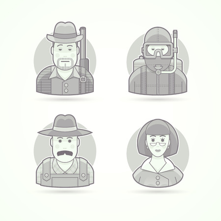 scuba diver: Hunter, scuba diver, village farmer, woman teacher. Set of character, avatar and person vector illustrations. Flat black and white outlined style.