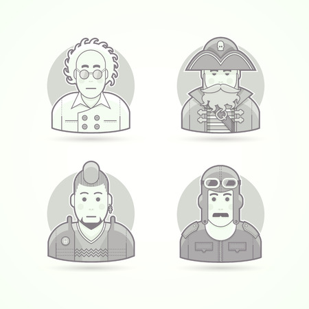cocked hat: Crazy scientist, sea pirate, punk fan, vintage pilot, Set of character, avatar and person vector illustrations. Flat black and white outlined style.