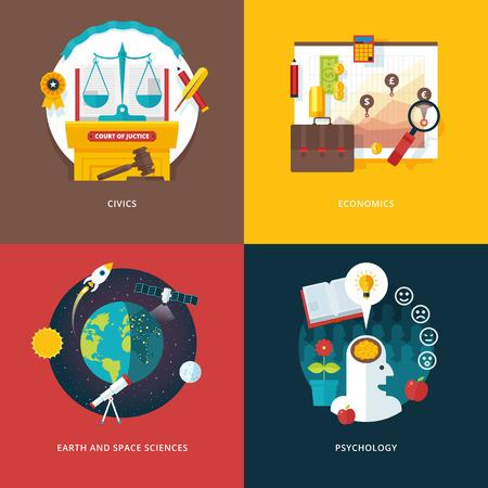 conocimiento: Conjunto de vectores de diseño plana ilustración conceptos para el estudio de educación cívica, economía, ciencias de la tierra y el espacio, la psicología. Educación y el conocimiento ideas. Conceptos para la bandera de la tela y material promocional. Vectores