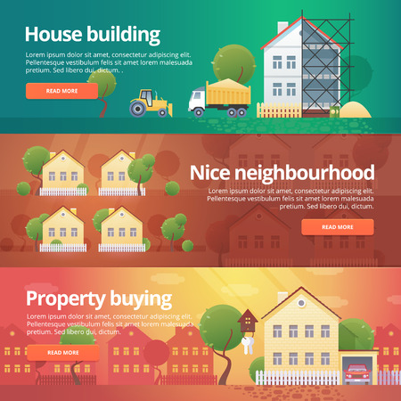 neighbourhood: Construction and building banners set. Flat illustrations on the theme of property buying, neighbourhood, house building, real estate.