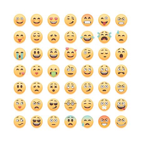 Zestaw emotikonów emotikony na białym tle, ilustracji wektorowych. Ilustracje wektorowe