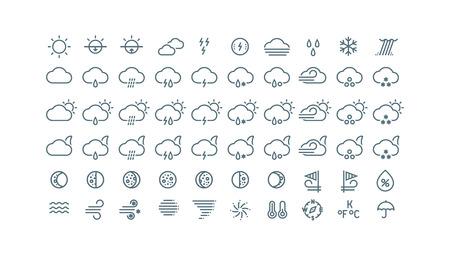 細い線の天気アイコンのコレクション。灰色のアイコンは、白い背景で隔離。