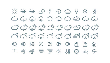 sleet: Thin line weather icons collection. Gray icons isolated on white background.