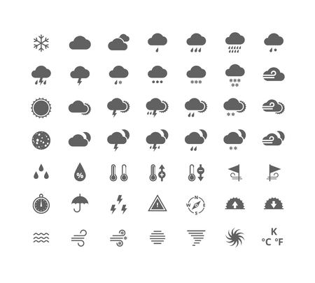 Gray silhouette weather icons set. Weather forecast widgets and apps design elements. Isolated on white background. Illustration