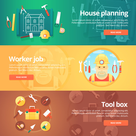 engeneering: Construction and building banners set. Flat illustrations on the theme of planning of a house, worker or builder job, tool box equipment. Vector design concept. Illustration