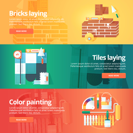 leveling: Construction and building banners set. Flat illustrations on the theme of brick and tiles laying work, decorative color painting. Vector design concept.