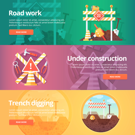 trench: Construction and building banners set. Flat illustrations on the theme of road work, under construction, trench digging. Vector design concept.
