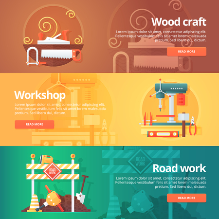 machinist: Construction and building banners set. Flat illustrations on the theme of wood craft, metal workshop and road work maintenance. Vector design concept.