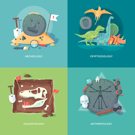 Education and science concept illustrations. Archeology, cryptozoology, paleontology and anthropology . Science of life and origin of species. Flat vector design banner. Illustration