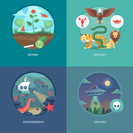 research science: Education and science concept illustrations. Botany, zoology, oceanography and ufology . Science of life and origin of species. Flat vector design banner.