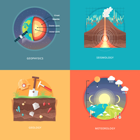 geology: Education and science concept illustrations. Geophysics, seismology, geology, meteorology . Science of Earth and planet structure. Knowledge of athmospherical phenomena. Flat vector design banner.