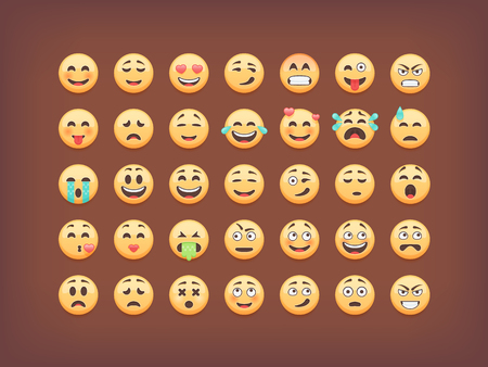 smileys: Set of emoticons, smileys  icon pack, emoji isolated on brown background, vector illustration.