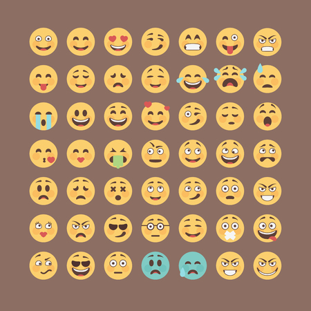 Emoticons collection. Flat emoji set. Cute smileys icon pack. Vector illucttration.