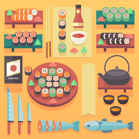 soy sauce: Sushi set. Soy sauce and sushi roll. Japanese food. Vector cartoon. friends forever. Comic characters. Illustration