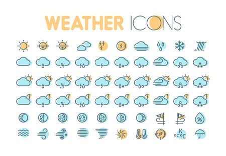 cold pack: Weather icons. Weather forecast symbols and elements. Collection for weather widgets.