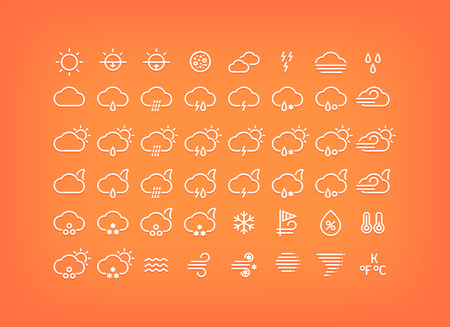 drizzle: White weather icons set. Thin line weather symbols with shadow. Weather forecast elements and signs for mobile apps and web design.