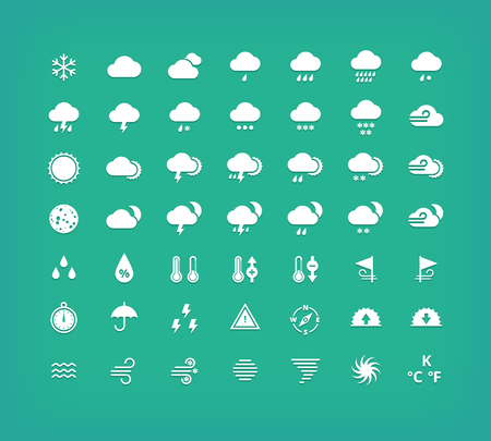 cold pack: White silhouette weather icons set. Weather forecast design elements. Illustration