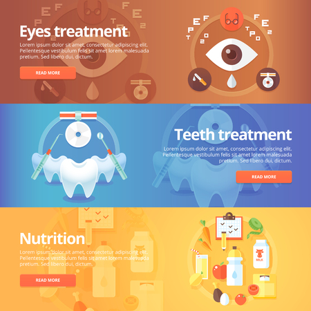 Medical and health banners set. Eye care. Vision treatment. Dentistry. Teeth care. Nutrition. Diet. Modern flat vector illustrations. Horizontal banners. Vector Illustration