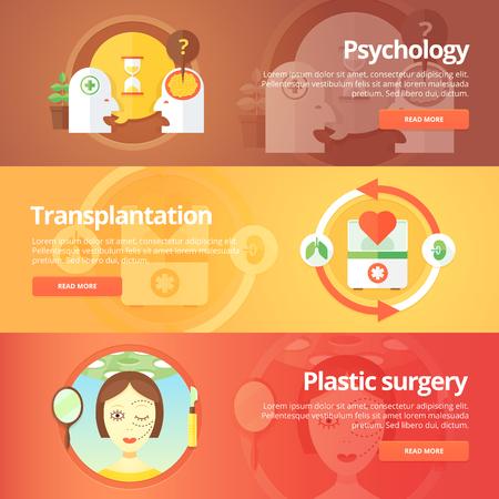 plastic surgery: Medical and health banners set. Sexology. Transplantation. Organs donation. Anaplasty. Plastic surgery. Modern flat vector illustrations. Horizontal banners.