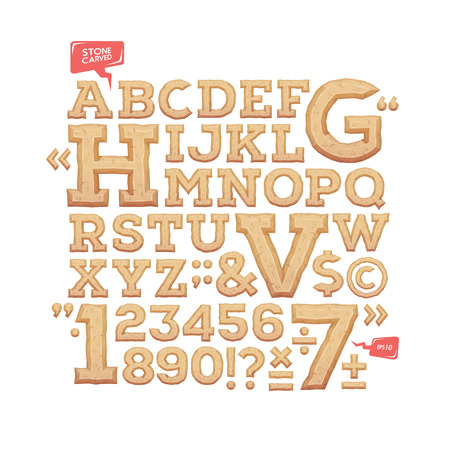 carved letters: Sculpted alphabet. Stone carved letters, numbers and typeface symbols. Vector illustration.