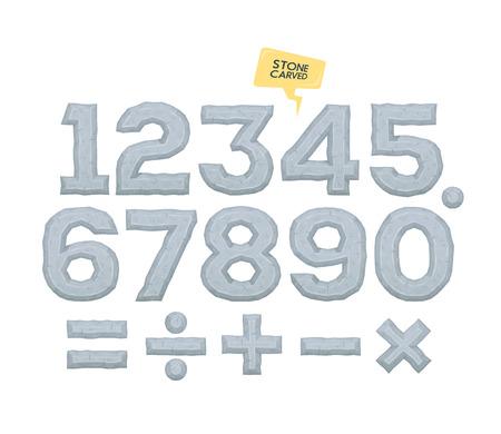 signos matematicos: Conjunto de números y signos matemáticos vector. elementos volumétricos con bisel.