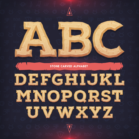 civilisation: Ancient alphabet. Memorial typeface. Carved from stone abc. Vector illustration.
