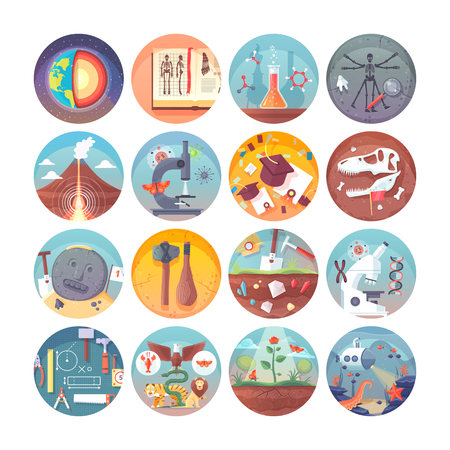 Education and science flat circle icons set.  Subjects and science disciplines. Vector icon collection. Vettoriali
