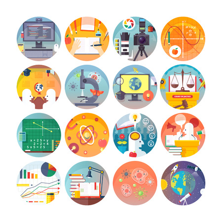 Education and science flat circle icons set.  Subjects and science disciplines. Vector icon collection. Ilustração