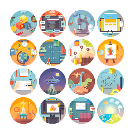 Education and science flat circle icons set.  Subjects and science disciplines. Vector icon collection. Stock Illustratie